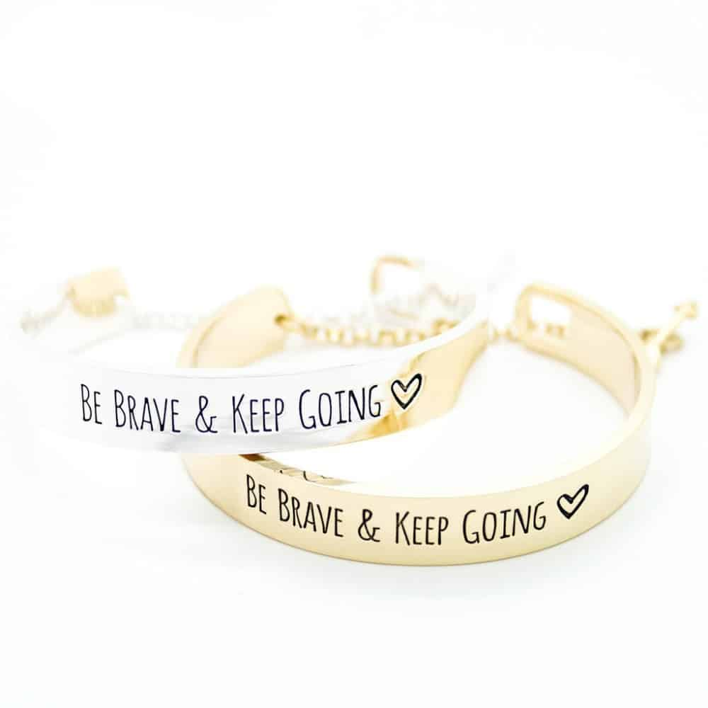Classic Arrow Bracelet Engraved 'Be Brave & Keep Going' For Women